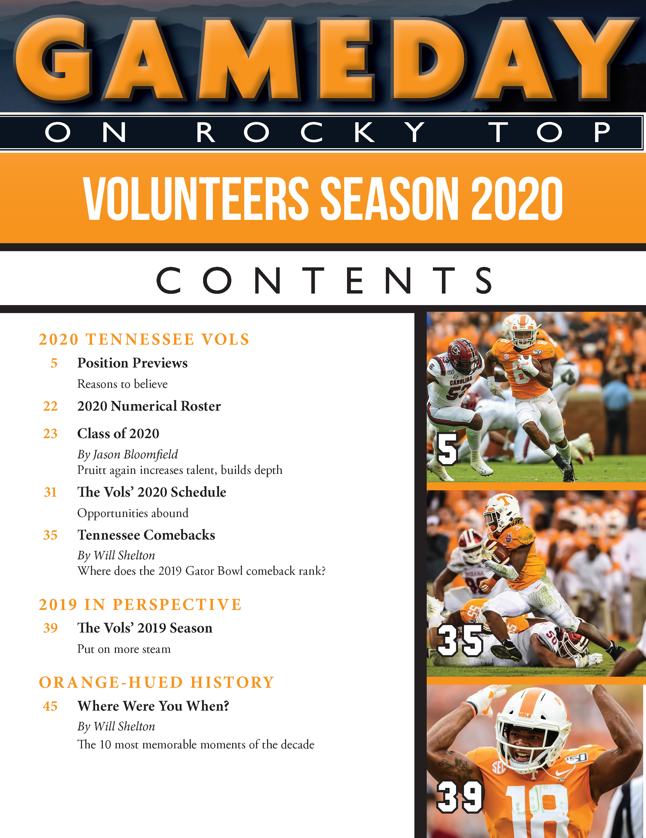 Gameday on Rocky Top College Football Preview Magazine - Table of Contents 1