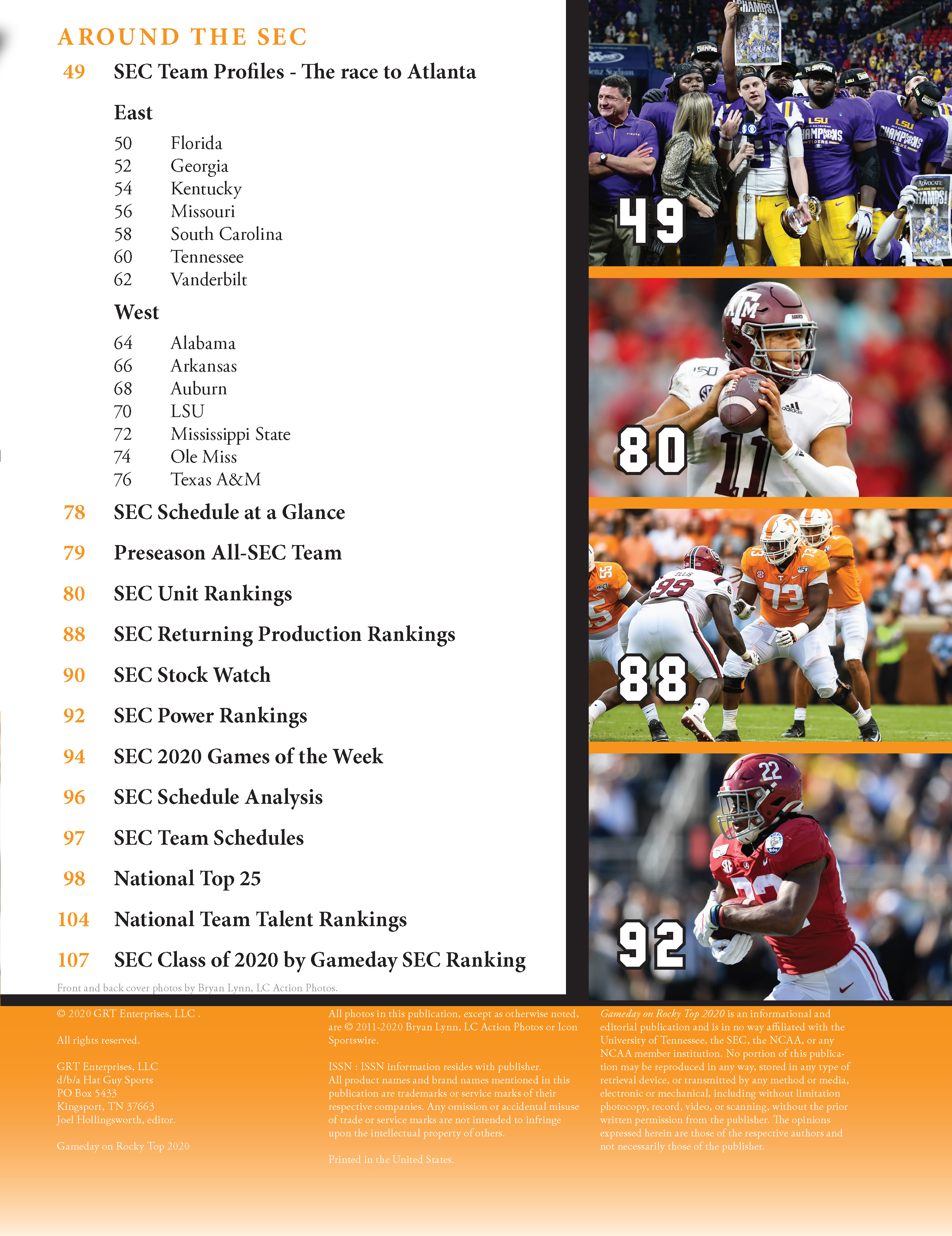 Gameday on Rocky Top College Football Preview Magazine - Table of Contents 2